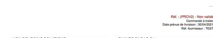 Capture d'écran cde fournisseur
